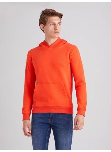 Dufy Düz Erkek Sweatshirt - Regular Fit Oranj